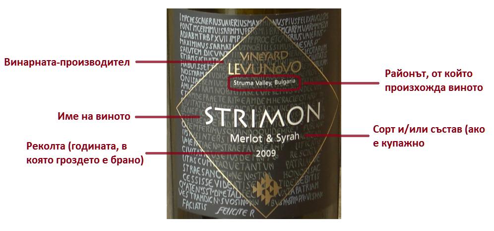 Етикет на българско вино, предна страна