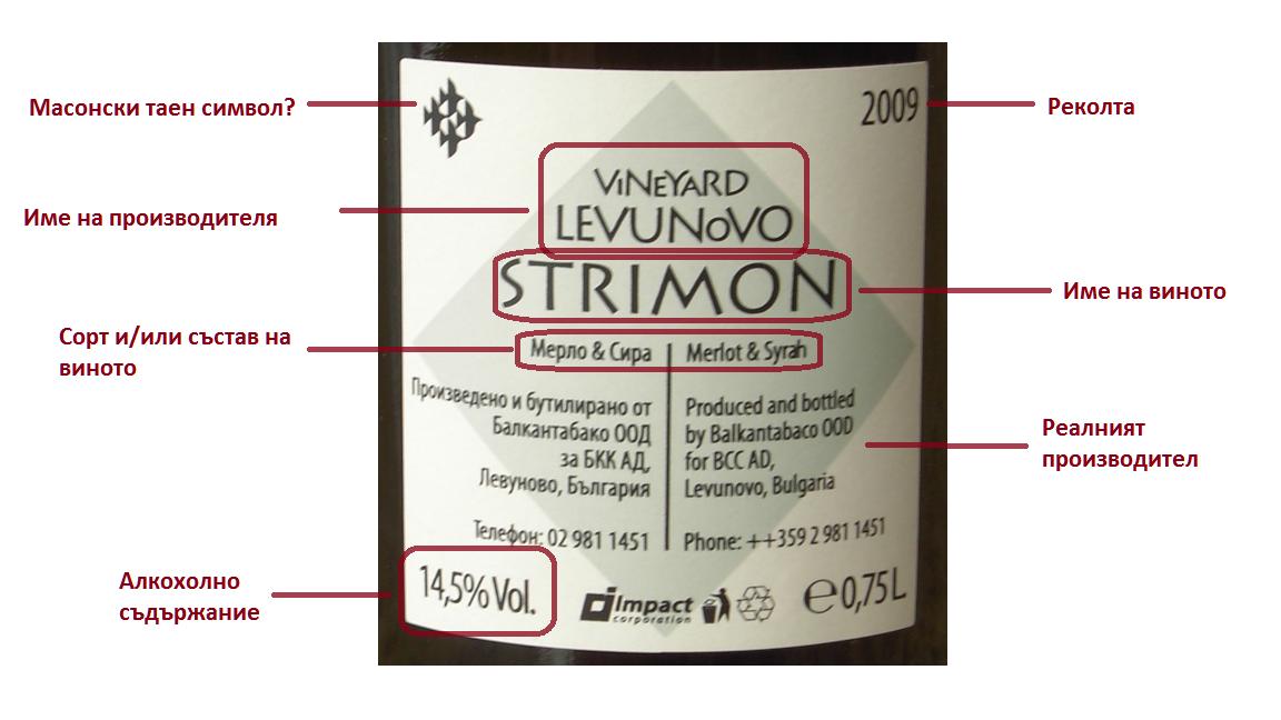 Етикет на българско вино, задна страна